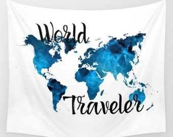 Wall tapestry world map gold black hipster dorm room apartment wall tapestry world traveler map navy dark blue white typpography quote dorm room apartment home decor travel tapestries gumiabroncs Image collections