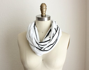 Lacy Black and White Reversible Infinity Scarf
