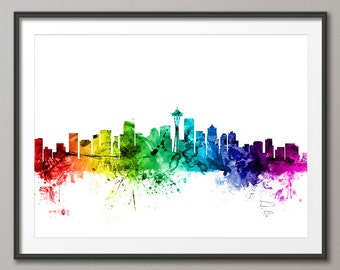 Seattle Skyline, Seattle Washington Cityscape Art Print (2441)