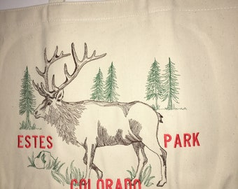 Embroidered Tote Bags, Moose, Elk, Colorado, Gifts