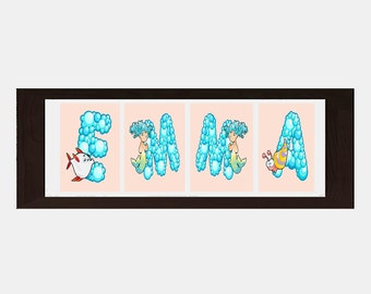 Sea Life Wall Decor, Sea Life Wall Art, Personalized Name For Girls, Girls Bathroom Decor, Girls Bathroom Wall Art, Custom Name Print
