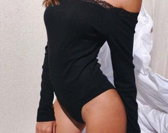 Lace Trim Off Shoulder Bodysuit