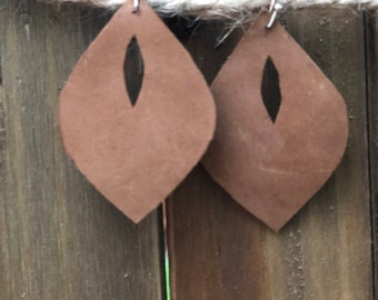 Handmade Brown Leather Cutout Drop Dangle Earrings from Firefly Chic
