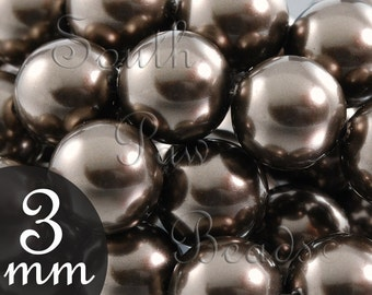 3mm Brown Glass pearl beads by Swarovski, Style 5810 (200)