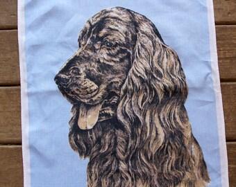 Vintage 1960s Irish Setter, English Setter, Gordon Setter Linen tea towel, dog tea towel