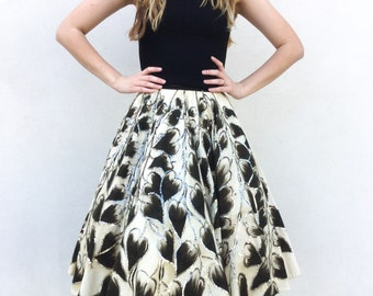 Beautiful 1950's Hand Painted Leaf Full Circle Skirt with Sequin Detail