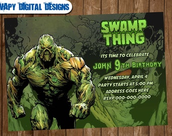 Swamp thing Digital Party invitation customize invite birthday thank you card