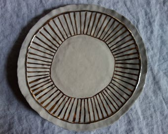Salad Plate with Gold Stripe