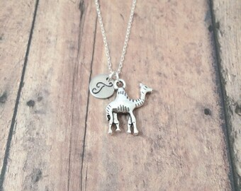 Camel initial necklace - camel jewelry, zoo animal jewelry, desert jewelry, dromedary necklace, zoo necklace, silver camel pendant