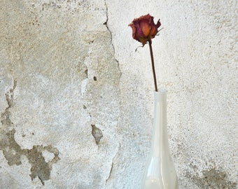 White Glass Bottle Handblown, Solifleur Glass Vase, White Glass Vase, Vintage Home Decor, Glass Bud Vase, Art Studio Glass Bottle