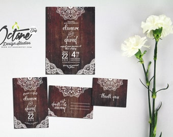 Rustic Wood & Lace Wedding Invitation Suite - Includes Save The Date Postcard + Invitation + RSVP postcard + wishing well card