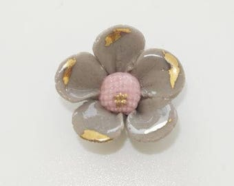 Cabochon flower paste taupe, pink and gold