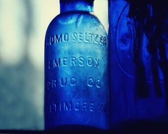 Vintage Bottles,Still Life Photography,Bromo Seltzer Bottle,antiques,cobalt blue,antique bottles,indigo,collectible bottles,bottle in window