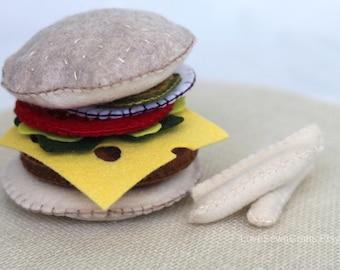 Felt Burger, Felt Food, Felt Diner Food, Play Food, Kid's Felt Food, Kid's Play Food, Pretend Food, Felt Burger and Fries
