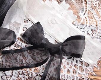5 meters 40mm Organza Ribbon with satin edge // Black, White // hair bow ribbon // decoration ribbon // wedding ribbon // Sheer ribbon