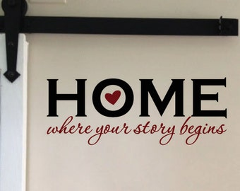 Home where your story begins, Vinyl Wall Decal, Home Decor, Welcome sign, wall art, Living Room Entry Way Foyer, lettering heart HH2175