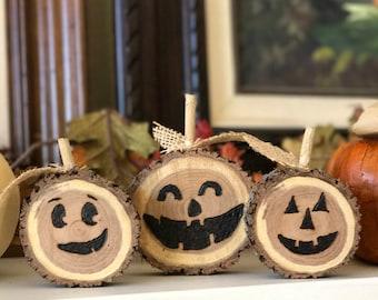 Jack-O-Lantern Wood Slice Decorations