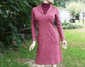 Italian Dress, 60s Dress, Vintage Dress, Maroon Dress, Winter Dress, Fall Dress, Vintage Costume, Wool Dress, Turtleneck, Gibi Roma Size 8
