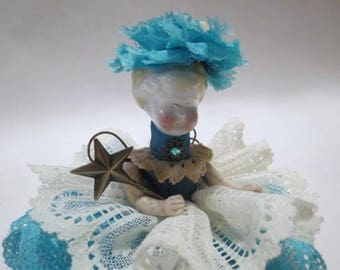 "Assemblage Angel ""Turquoise""  Assemblage Art Doll, Antique Doll Parts, Vintage Style Art Doll"