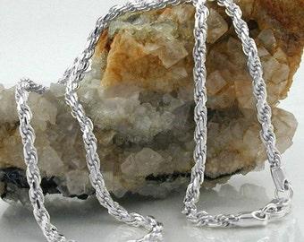 Rope chain diamond, silver 925, silver 925