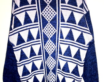 Vintage 1980s blue and white geometric over-sized jumper sweater