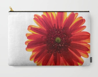 Photo Clutch, Red Daisy Flower, Macro Photography, White and Red, Make Up Bag, Small Laptop Bag, Pencil Case, Clutch Bag, Women's Gifts