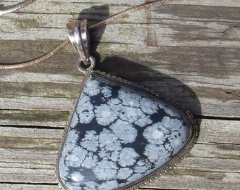 Snow flake Obsidian Pendant Necklace