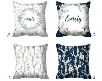 custom name pillow decorative pillow set nursery pillow custom pillow  personalized pillows for kids cactus pillow
