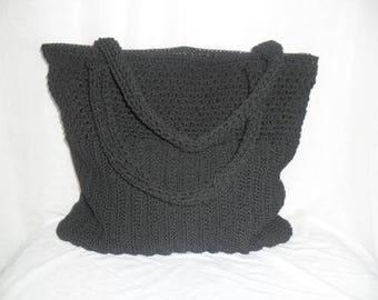 Hand knitted crochet handbag