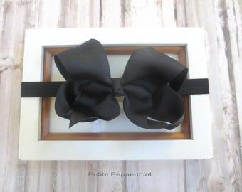Black bow baby headband, baby head band bow, newborn headband, toddler headband, black baby hair bow, girl headband, black girl headband