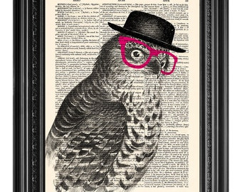Owl wearing glasses, funny owl print, Dictionary art print, Vintage book art print, dictionary page, Home Wall Decor, Gift poster [ART 120]
