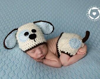 Newborn  Puppy Photo Prop/ Crochet Puppy Set/ Crochet Dog Hat/ Baby Boy Photo Prop/ Baby Girl Puppy Prop