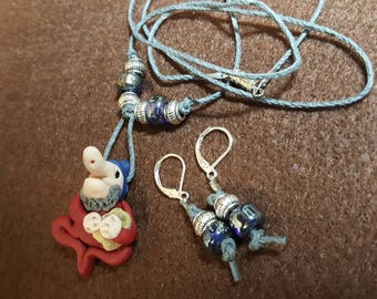 """Gnome """"Jerry"""" Necklace and Earrings"""