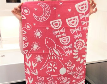 Evelyn Bunny Tea Towel in magenta, Scandi style kitchen gift for animal lovers