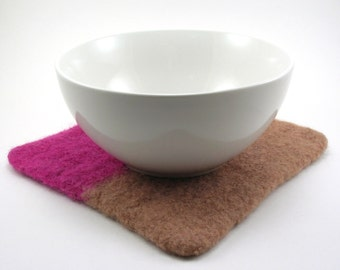 Felted wool trivet - felted hot pad - color block trivet - magenta and sesame