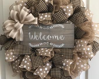 Welcome Wreath-Farmhouse Rustic