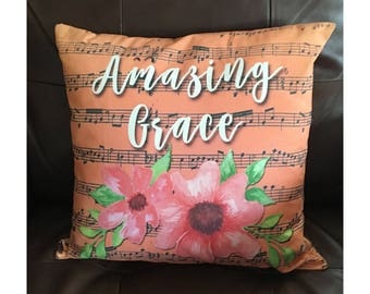 Amazing Grace Flower and Music Throw Pillow