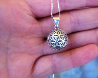 Flower of life necklace, Silver flower of life, flower of life, Silver necklace, Sacred geometry charm, Ball Necklace, geometric necklace