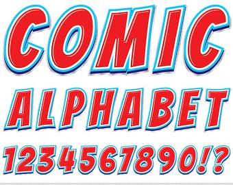 Comics Alphabet Clipart Red Blue Letters Clipart Comic Book Typography Alphabet Clip Art Scrapbooking Numbers Text Clipart Comic Clipart