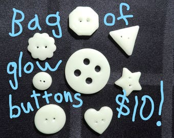 Glow in dark buttons (whole bag)