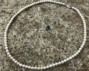 5mm white pearl necklace, freshwater pearl,classic and simple choker