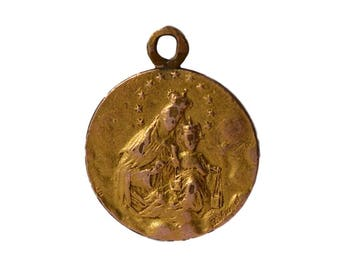 Our Lady and Jesus Child - Jesus Sacred Heart - Antique French Gold Plated Medal Pendant Charm By E. Dropsy - Religious Jewelry