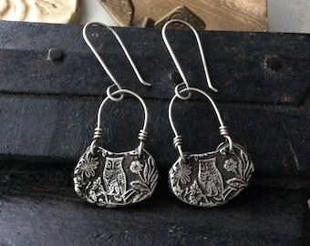 silver owl earrings : nature jewelry, gift for her, botanical jewelry, floral earrings