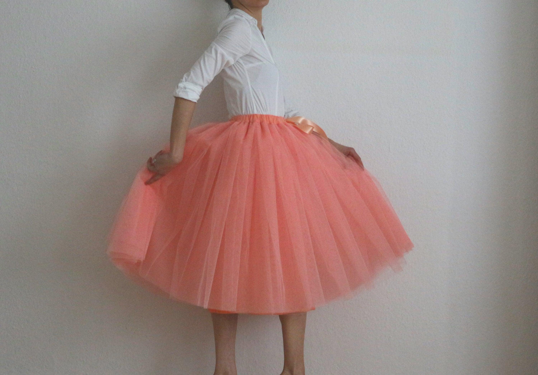 Tulle skirt/petticoat melon 70 cm