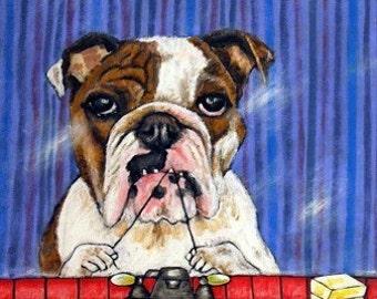 bulldog art - PRINT, bulldog art PRINT , poster, gift, modern folk, bathroom art