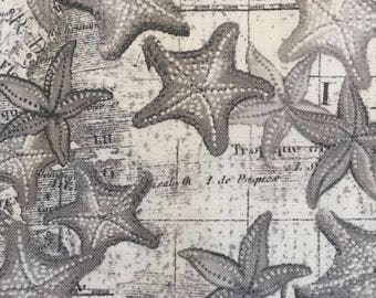 High Tide by Whistler Studios for Windham Fabrics Starfish on Map - Black