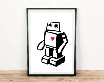 Robotey. Print Din A4. Robot. Heart. All's well. Ink. Sci-fi. Gift. Christmas