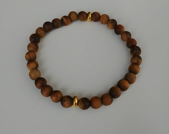 6mm matte tigers eye with gold spacers