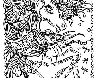Unicorn And Butterflies Instant Download Fantasy Coloring Pages Adult Books