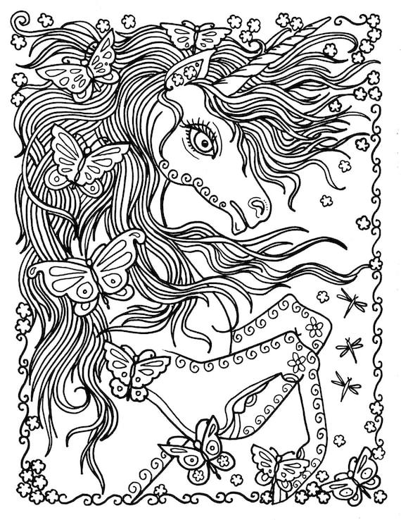 Einhorn und Schmetterlinge Instant Download Fantasy Färbung
